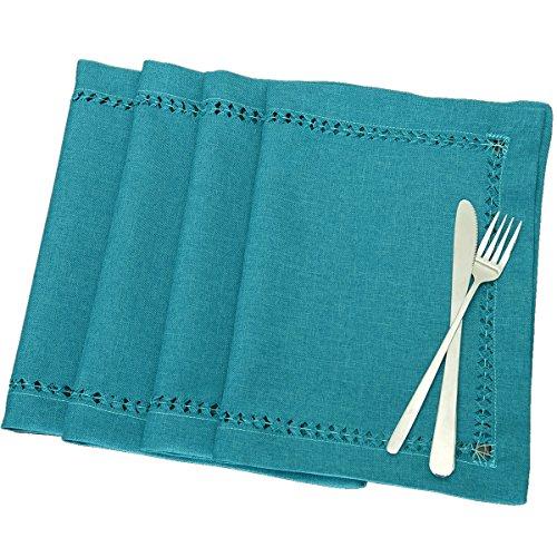 Grelucgo - Bufanda de vestidor, hecha a mano, diseño de dobladillo, color verde azulado