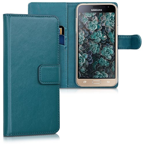 kwmobile Samsung Galaxy J3 (2016) DUOS Hülle - Kunstleder Wallet Case für Samsung Galaxy J3 (2016) DUOS mit Kartenfächern & Stand - Petrol