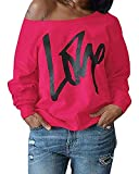 Yanekop Womens Love Letter Printed Off Shoulder Pullover Sweatshirt Slouchy Tops Shirts(Rose Red,XL)