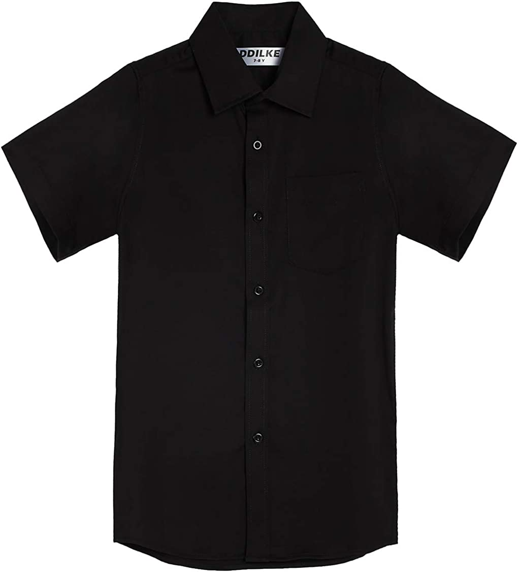 DDILKE Boys' Short Sleeve Dress Shirt Casual Button Down Uniform Shirts