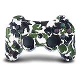 Mandos PS3 Inalambricos, Controlador de PS3 Inalámbrico Bluetooth Dual Shock Gamepad de Doble Vibración SIX-AXIS con Conector de Audio para PlayStation 3 / PC (Camuflaje Verde)