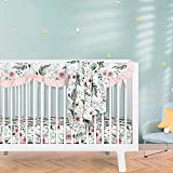 Sahaler Baby Crib Bedding Set for Boy Girl, Watercolor Floral Nursery Fitted Sheets Crib Rail Covers Fleece Plush Blanket 3 Pieces Set (Retro Chrysanthemum ) (Fern Leaf Bamboo, 3 Pieces Set)