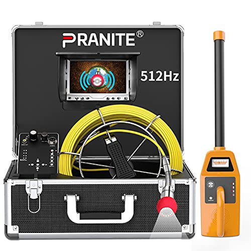 """Sewer Camera, 512Hz Transmitter Sonde for Pipe Location Endoscope Camera 7""""LCD DVR Screen Plumbing Borescope Inspection Camera IP68 Waterproof Drain Snake 100FT Cable (Include 512Hz Receiver)"""
