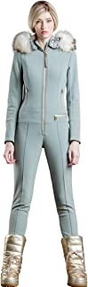 EM-EL Bogner Sport Women's Phili-D Softshell Ski Suit with White Finnraccoon Fur Hood Trim