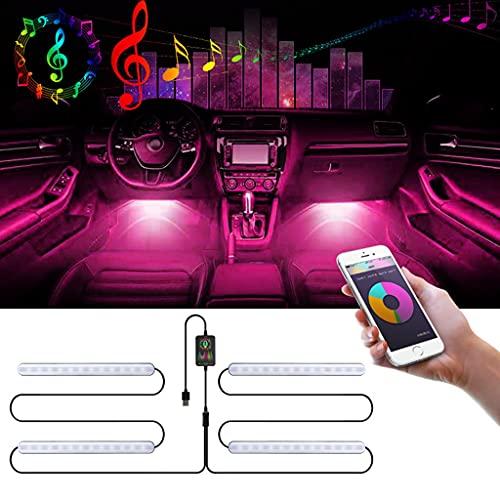 JDKC- 48 Luces LED para El Interior del Coche, Kit de Iluminación RGB Debajo del Tablero, con Control de App y Control Remoto Inalámbrico, Sincronización de Música, Luces de la Atmósfera