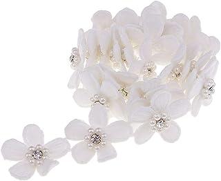 Homyl 1 jarda bordado flor de pérola acabamento de renda fita aplique para costura em vestido de casamento roupa palco fan...