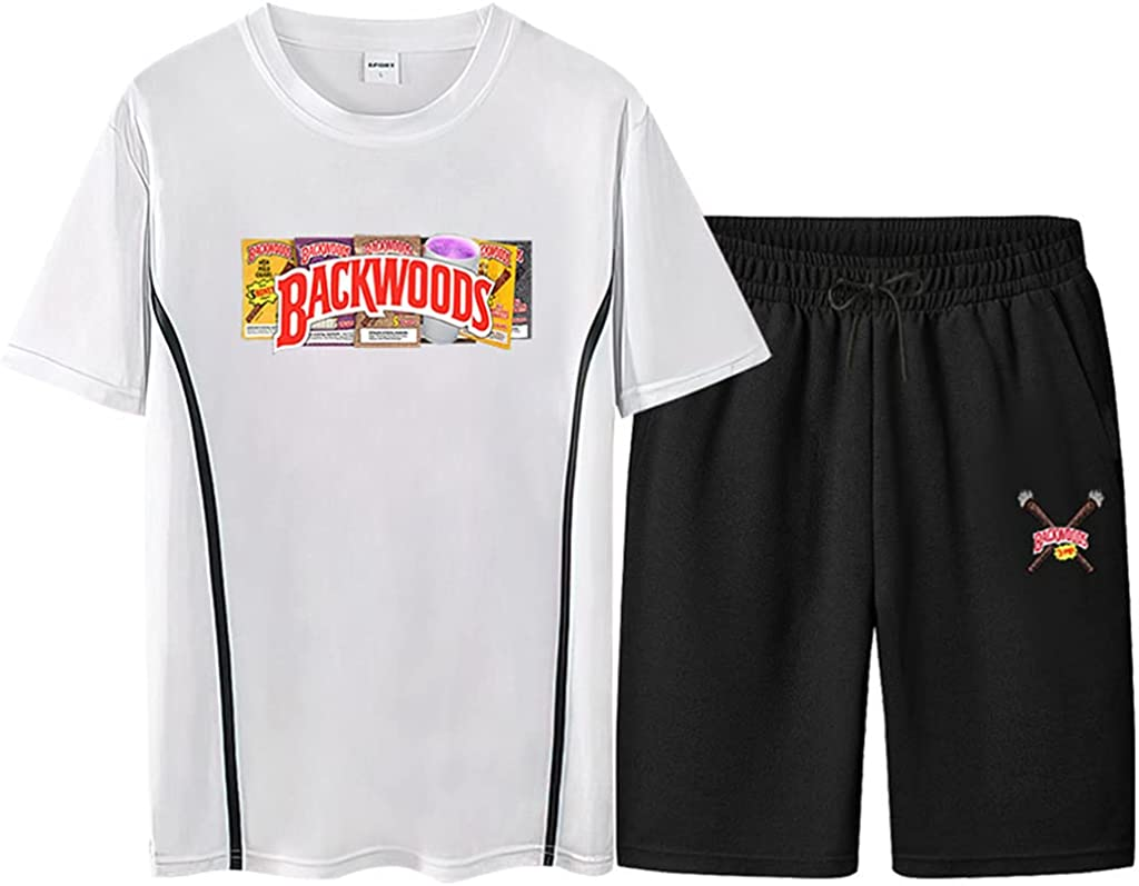 Unisex Backwoods Tshirts and Pants Sport Backwoods Cigar Tops Backwoods Shirt and Shorts Set Casual Boys Hiphop Tops