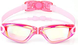 Swimming Goggles for Kids- No Leaking HD Anti-Fog Swimming Glasses Large Frame Plating Swim Goggles with Earplugs for Girls and Boys