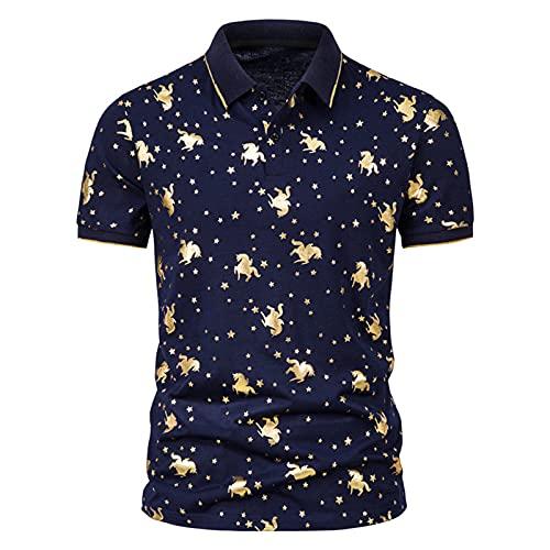 SSBZYES Mens T-Shirt Mens Polo Shirt Summer Mens Short Sleeve T-Shirt Mens Fashion Gold Print Short Sleeve Lapel T-Shirt