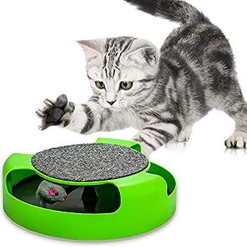 Powerking Jouets pour chat, jouets interactifs pour chat avec chat en cours d'exécution et tapis de soin pour griffes avec tampon à gratter, amusant pour garder votre chat intrigué