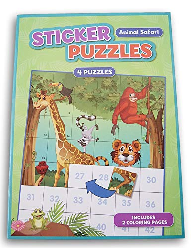 Activity Books Animal Safari Sticker Puzzles Book - 4 Puzzles with Two Coloring Pages