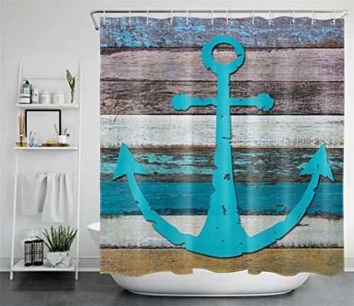 dangfeipeng Decoración de baño de Cortina de Ducha de Tela Impermeable de Tablero de Madera Antiguo Colorido Ancla