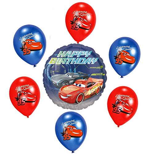 Libetui Disney Cars Kinder Geburtstag Junge Luftballons Deko Geburtstag Dekoration Set Happy Birthday Deko-Luftballon Folienballon Car