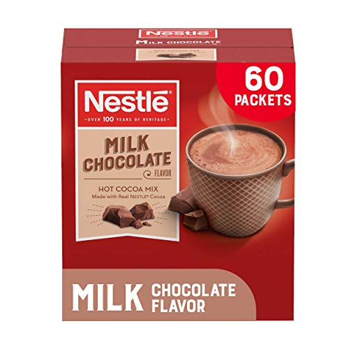 Nestle Hot Chocolate Packets, Milk Chocolate Flavor Hot Cocoa Mix, Made with Real Cocoa, 0.71 oz Sachets, Bulk Pack (60 Count)