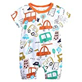 Feidoog Baby Boys and Girls' Summer Short Sleeve Pajama Cute Cartoon Romper Outfits,Car,12-18M