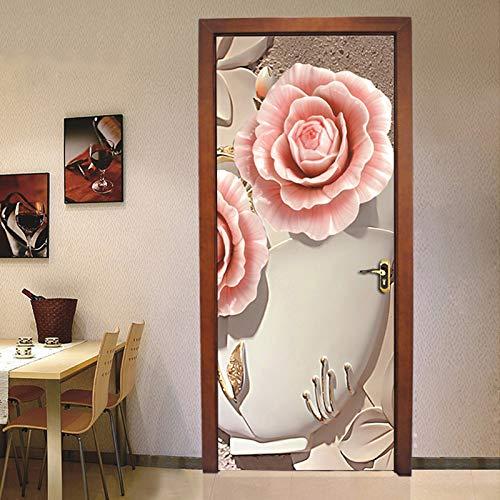Etiqueta De Puerta 3D Hermosa Flor Papel Pintado De La Puerta Autoadhesiva Papel Mural Interior Diy Vinilo Impermeable Desmontable Pvc Muebles Decoración 95Cmx215Cm