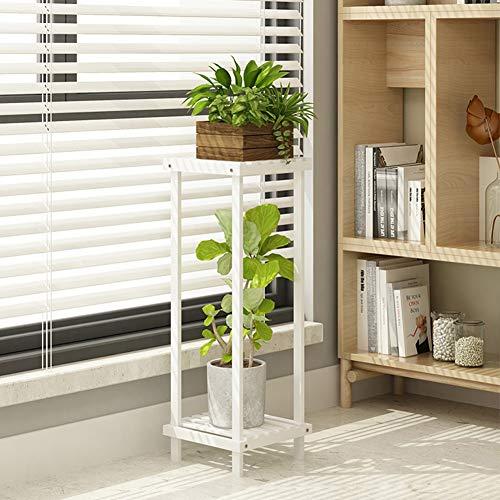 Plant Stands Fioriera da Esterno Scaffale Porta-Fiori con 2 Ripiani di Legno Fioriera Verticale A Scala for Giardino Portaoggetti, 2 Colori, 4 Dimensioni ZSMFCD (Color : White, Size : 90cm)