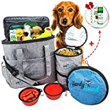 Handy Hound Pet Travel Bag Includes Airline Approved Travel Bag, 2 Collapsible Food-Water Bowls, 2 Food Storage Bags, 1 Play Frisbee, 1 Paw Butter Balm