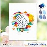 FWHBD Fingerabdruck Unterschrift Malerei Heißluftballon Leinwand Message Board DIY Baby Taufe Hochzeit Geburtstagsgeschenk Dekoration Kunstwerk Kit Souvenir,E