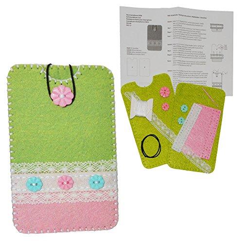 alles-meine.de GmbH Bastelset: Handytasche / Handyhülle - Smartphone Hülle - Blume grün rosa / grau - aus Filz - Gr. L - für Handy bis 7,8 cm breit * 14,5 cm hoch - zum Sticken, ..