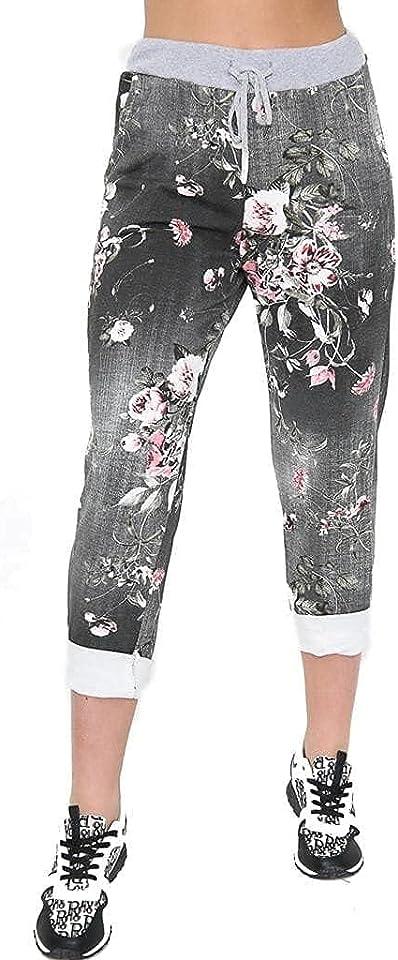 Women's Floral Print Drawstring Elasticated Trousers Ladies Jogging Bottoms Pants 8-22