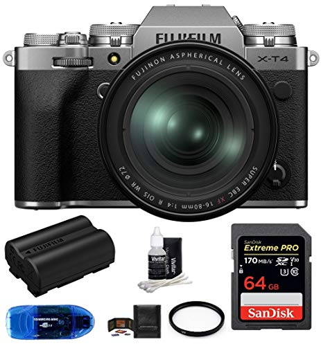 Fujifilm x-t4 mirrorless digital camera with xf 16-80mm f/4 r ois wr lens (silver) bundle, includes: sandisk 64gb extreme pro sdxc memory card, spare fujifilm np-w235 battery + more (7 items)