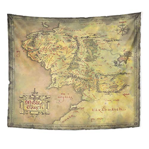 Semtomn Tapestry Artwork Wall Hanging Middle Earth Map 60x80 Inches Tapestries Mattress Tablecloth Curtain Home Decor Print