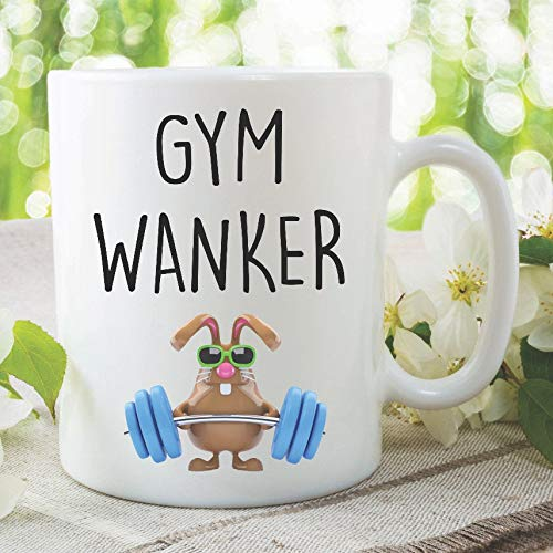 Funny Gym Wanker Mug with weightlifting rabbit graphic
