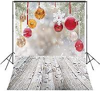 写真のためのZPCクリスマスボールの背景5x7ftポリエステル生地素朴な木製の床写真の背景パーティー写真の写真スタジオの背景の小道具をカスタマイズ