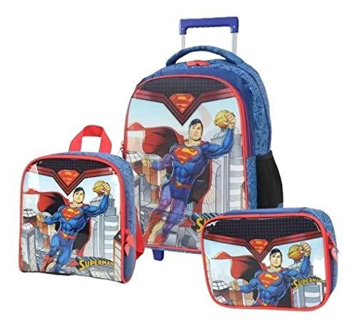 Kit Mochila Infantil Rodinha Superman Homem Holográfica G