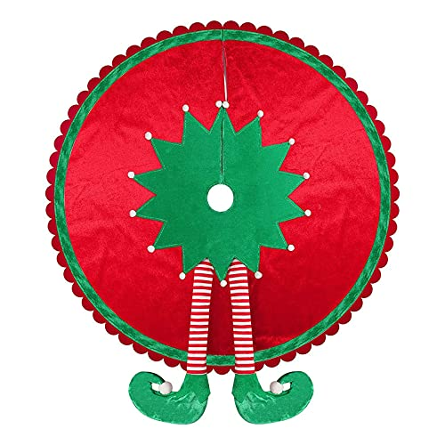 Gonna per albero di Natale Atroy Elfo, gonna per albero di Natale con gambe a strisce e bordo ondulato,Gonna per albero di Natale per vacanze decorazioni natalizie