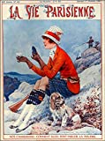 ABLERTRADE 1927 La Vie Parisienne French Cocker Spaniel France Travel Advertisement Retro Metal Poster Signs Wall Decor Gift 8X12 Inch