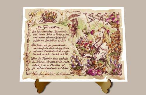 Geschenk Floristin Blumenfrau Gedicht Zeichnung Color 30 x 21 cm mit Aufsteller