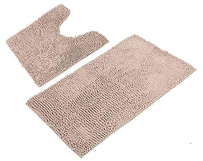 Marvellous Bathroom Rugs Luxury Chenille 2-Piece Mat Set, Soft Plush Anti-Slip Shower Rug +Toilet Mat.1'' Microfiber Shaggy Carpet, Super Absorbent mats, Machine Washable Bath Mat (Curverd Set, Beige)