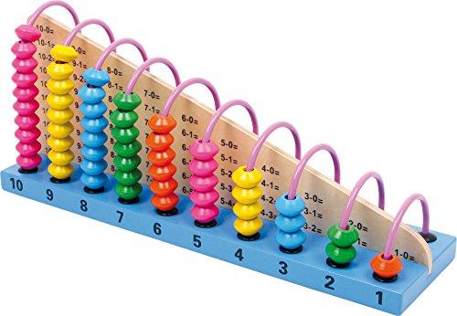small foot 2138 Boulier en bois, règle à calcul avec des exercices mathématiques et perles en bois intégrés, 6 ans et plus
