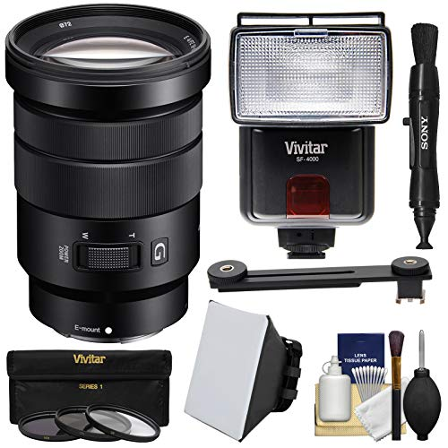 Sony Alpha E-Mount 18-105mm f/4.0 OSS PZ Zoom Lens with 3 UV/CPL/ND8 Filters + Flash + Soft Box + Kit for A7, A7R, A7S Mark II, A5100, A6000, A6300 Camera