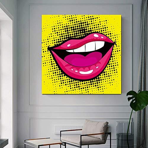 Nordic Wall Art Canvas Painting Abstract Poster e Stampe Sexy Labbra Rosa Immagini a Parete per Soggiorno Home Decor 60x60 Senza Cornice