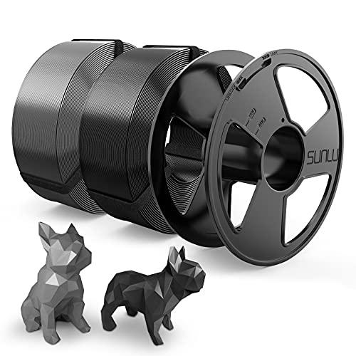 PLA Filament 1.75mm, SUNLU PLA 3D Drucker Filament, Wieder Verwendbar Spool, MasterSpool, Filament Refill ist Leicht zu Ersetzen, PLA 2KG, 1kg Spool, 2 Pack, Schwarz+Grau