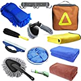 E-sds Car Cleaning Kit, 12pcs Car Wash Kit for Interior and Exterior - Car Wash Sponge, Wheel and Tire Brush, Water Scraper, Car Washing Towel, Hook, Home Car Wash Bucket Kit