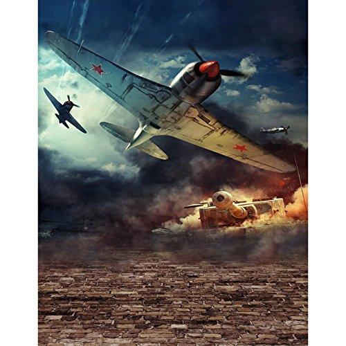 5x7ft Vinyl Digitale Oorlog Zone Fighter Vliegtuig Tank Fotografie Studio Achtergrond