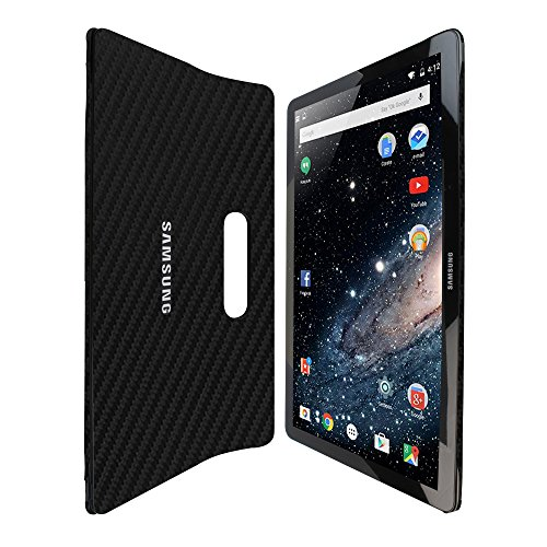 Skinomi Black Carbon Fiber Full Body Skin Compatible with Samsung Galaxy View (18.4 inch)(Full Coverage) TechSkin with Anti-Bubble Clear Film Screen Protector