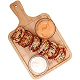 HOKIPO Wooden Platter Serving Tray with Handle |Appetizer Plate | Snacks Serving Platter, 40x28 cm (AR-3568)
