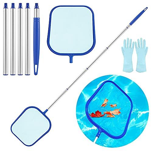 Red de aterrizaje para piscina con poste telescópico, red de desnatador de piscina, red de hoja, para accesorios de piscina para spas, piscina, jacuzzis, fuentes