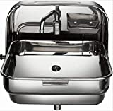 Kangrun Stainless Steel Folding Sink with Cold Water Faucet in RV Camper Caravans Motor Home Mobile House Yacht