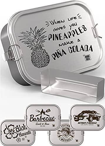 DUDE BOX Brotdose Edelstahl 1200ml | auslaufsicher & nachhaltig | Lunch Box Erwachsene mit Trennwand | Bento Box Butterbrotdose Brotbüchse mit Fächern (Pina Colada)