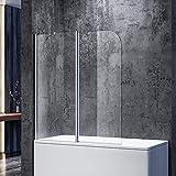 SONNI Duschtrennwand 120x140cm (BxH) mit Stabilisator,Duschwand Badewannenaufsatz, Duschwand für badewanne