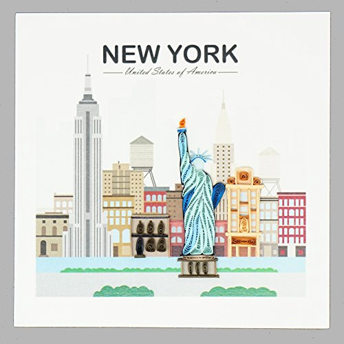 Quilling Card New York City - Unique Paper Handmade Greeting Cards For Christmas, Love, Birthday, Anniversary, Mother's Day, Thank You - Color Art Quilled Cards Gift For Friend, Lover, Mom - Envelope