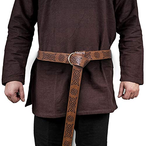 HiiFeuer Medieval Embossed PU Leather O Ring Belt, Retro Renaissance Knight Belt (Brown B)