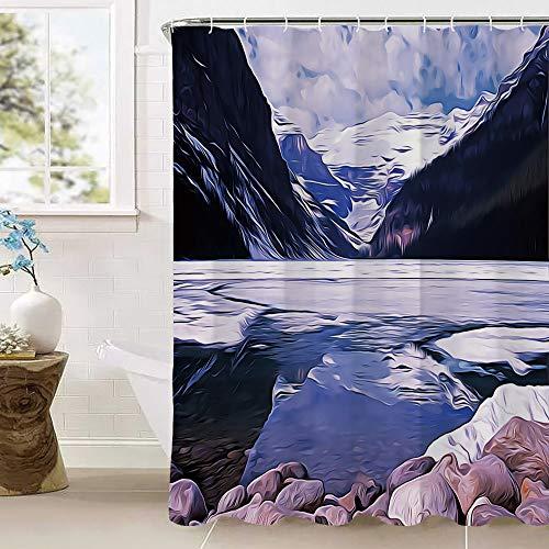 Bumina Winter Duschvorhang, Lake Louise Alberta Kanada Touristenattraktion Landschaft Berge Reisen Urlaub resistent waschbar Badvorhang für Badezimmer mit Kunststoffvorhangringen 180 x 180 cm