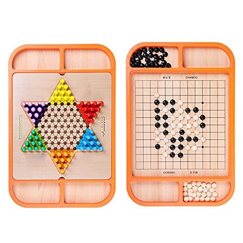 FEANG 2-en-1 Checkers y Gobang (Cinco en una Fila) Juego de Mesa de Madera con Set de 60 Piezas de ajedrez Colorido, para Adultos y niños